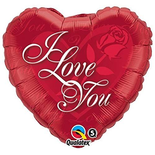 Unbekannt Qualatex Folienballon mit Herzschrift I Love You, 91,4 cm