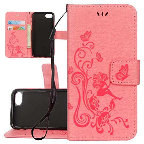 Custodia iPhone 6 Plus, ISAKEN Custodia iPhone 6S Plus, iPhone 6 Plus Flip Cover con Strap, Elegante borsa Albero Design in Sintetica Ecopelle Sbalzato PU Pelle Protettiva Portafoglio Case Cover per A Fata ragazza: rosa