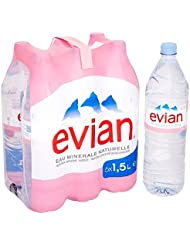 Evian Still Natural Mineral Water, 6 x 1.5 L