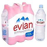 Evian Still Natural Mineral Water, 6 x 1.5 L