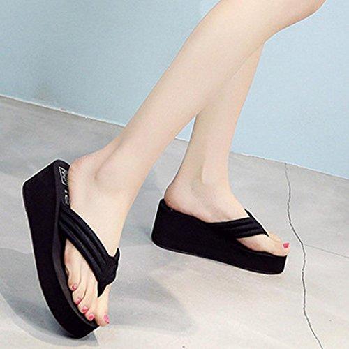 OverDose Frauen Sommer Sandalen Slipper Indoor Outdoor Flip-Flops Strand Schuhe Strand Slipper Schwarz-6cm Höhe