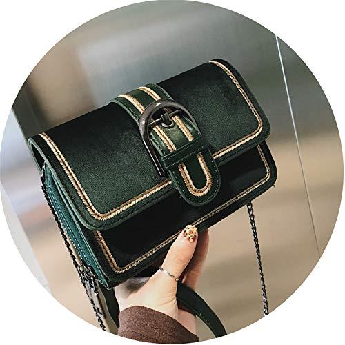 Small-shop handbags Damen Retro-Handtaschen, Samt, Damentasche mit Kette und Schultertasche, quadratisch, Grn (grün), Einheitsgröße