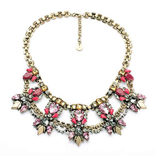 TLLAMG Halskette Schönheit Neueste Großhandel Neueste Nachahmung Schmuck Einzigartige Aussage Strass Chunky Frauen Chokerhalsketten Frühling