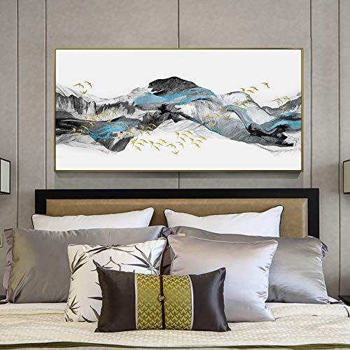 Kunst Wanddekoration Chinesische Landschaft Pinsel Malerei auf Wandkunst Poster und Druckgrafik Abstrakt Golden Bird Wandbild für Schlafzimmer (ohne Rahmen) A1 30x60CM