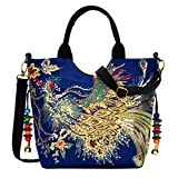 HITSAN INCORPORATION Vbiger Women Canvas Shoulder Bag Peacock Embroidery Handbag Stylish Tote Bags