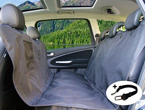 PiCoon Hundedecke Auto/Autoschondecke für Hunde in schwarz, wasserdicht, mit Sicherheitsgurt, für alle Automodelle, 160cm x 143cm, Rücksitz Schondecke Schutzdecke Sitzschutz Kofferraumschutz