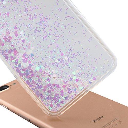 TOYYM - Cover per iPhone 7Plus 5,5, trasparente con brillantini e liquido, include 1 pellicola protettiva e 1pennino capacitivo, plastica, Color 27#, Apple iPhone 7 Plus 5.5 Color 22#