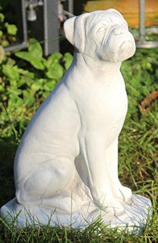 XXL Tierfigur | Gartenfigur | Deko Figur Boxer | H 32 cm | Tierskulptur aus Beton | Gartendeko | Garten Deko | Dekofigur | Garten Skulptur Hund