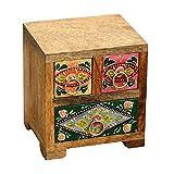 Casa Moro Orientalische Schatulle handbemalte Kästchen indisches Apotherschränkchen Indian Style Schminkkasten aus Mangoholz Box | Schmuckkasten Hari