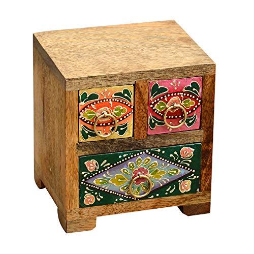 Orientalische Mini-Kommode handbemalte bunte Holz-Kästchen Hari mit 3 Schubladen aus Mangoholz | H 14 x B 13 x T 12 cm | Originelle Geschenk-Idee für die Dame Freundin Frau zum Muttertag | RK4