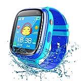 Reloj Inteligente para niños Resistente al Agua Reloj de teléfono para niños y niñas con Linterna de Llamada SOS cámara Pantalla táctil Compatible con iOS y Android (Blue)