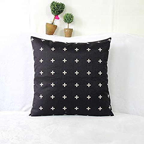 Luxbon Funda de Cojín Almohada Lino Duradero Figura Geométrica Negro Decoración para Sofá Cama Coche 18x18