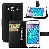 Samsung Galaxy J5Hülle,Frlife | BookstyleHandyhüllePremiumPU-LederklapptascheCaseBrieftascheEtuiSchutzHüllefürSamsung Galaxy J5 (5.2 Zoll)Schwarz