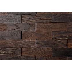 Wodewa Roble tabaco - Madera auténtica para paneles de pared madera, revestimiento de paredes interiores (apariencia 3D, 200 x 50 cm)