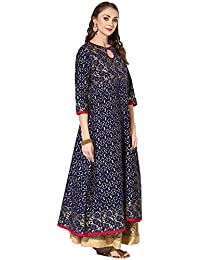 Zoeyams Women's Blue Cotton Block Prints Long Anarkali Kurti