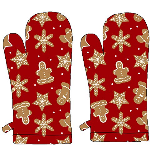 JHOME Extra Long Microwave Oven Glove Mitts(2pcs) for Kitchen Cooking RED Candy-Heat Resistant,Thick&Safe,Protection of Hand for Utensils,Gas Flame,Grill,Barbecue
