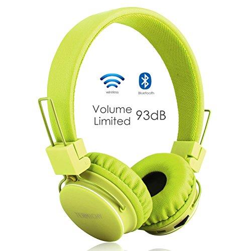 Termichy Bluetooth Kopfhörer Kinder mit 93dB Lautstärkebegrenzung, Faltbare Tragbare Leicht kopfhoerer Kabellos mit Audio Kabel On-Ear Drahtloser Kopfhörer Musik Shareport, Eingebautem Mikrofon (Grün)