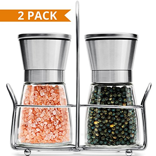 Salt & Pepper Grinder Set of 2-5 Oz Glass Sea Salt and Spice Shakers with BONUS Stand - Adjustable Coarseness Mills – Easy To Clean - Stainless Steel & Ceramic Rotor - BPA Free (Glass Pepper-set)