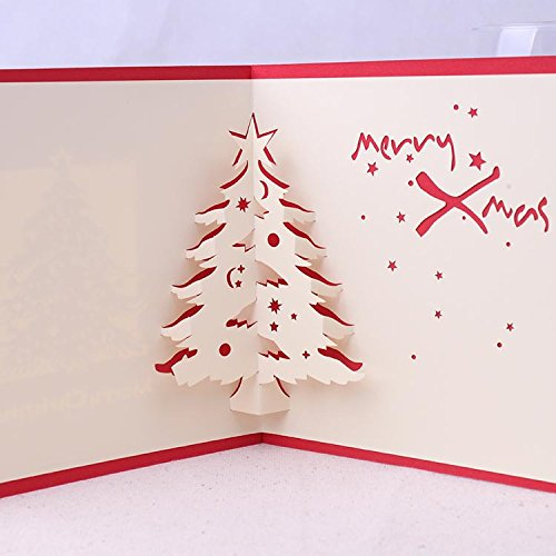 Global brands online christmas 3d pop up christmas tree paper carving biglietto d' auguri di natale regali party biglietto d' auguri