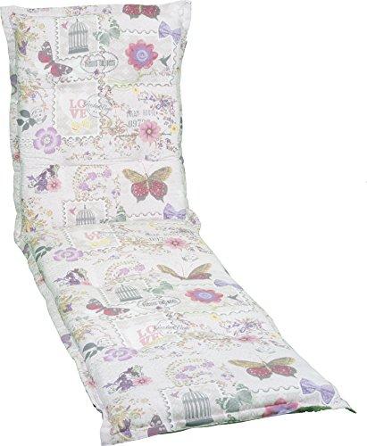 Gartenstuhlauflage Sitzkissen Polster für Gartenliegen Mehrfarbig Beige Violett Rosa Blumen...