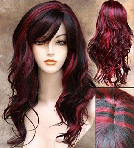 Peluca de pelo sintético ondulado de longitud media para mujer en color negro y rojo, para fiestas...