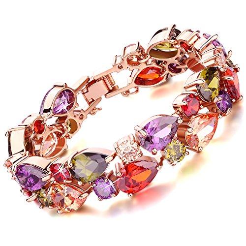 Rolicia Tesori Stringa Multi Color Cristallo Ceco 19 5 Centimetri Collegamento Del Braccialetto Del Piatto d'Oro Per Il Tuo Amore