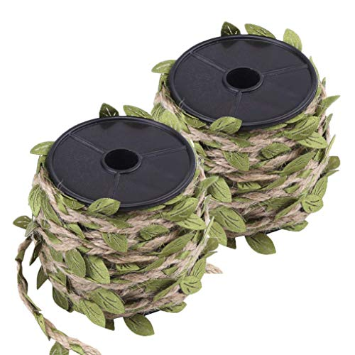 heliltd 10 Mt/Rolle Künstliche Grüne Blätter Hanfwachs Seil, 5mm Natürliche Juteschnur Hanfseil, Schöne Blatt Band Gemischt Strickseil für DIY Kunst Handwerk, Party Dekoration -