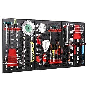 FIXKIT Werkzeuglochwand aus Metall mit 17 teilge Hakenset 120 x 60 x 2 cm, Werkzeugwand Lochwand für Werkstatt, Schwarz und Rot