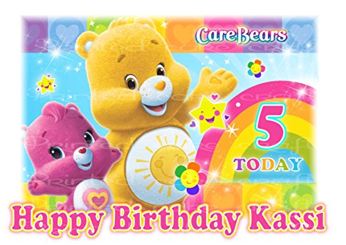 Image of EDIBLE A4 CARE BEARS GIRLS ICING PERSONALISED CAKE TOPPER STYLE 2