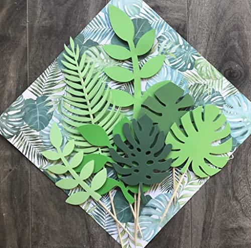 tzernde tropische Blätter Tortenaufsatz Tropische Hochzeit Kuchen Topper Grün Kuchen Topper Palmblatt Kuchen Topper für Dschungel Thema Geburtstag Party Deko Safari Baby Dusche Deko ()