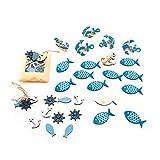 SET Tisch-Deko 42 Teile: 12 Stück STREU-Deko FISCHE mit Klebepunkt 5 x 2,7 cm + 24 mini STREU-Teile 8 Fische, 8 Anker, 8 Steuerrad + 6 Deko-KLAMMERN Schiffs-ANKER zur Taufe, Hochzeit, Geburtstag, …