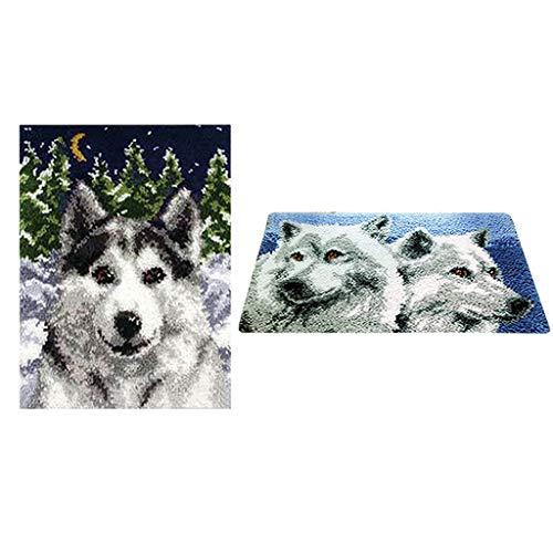 Baoblaze 2 Sets Knüpfteppich Wolf Formteppich für Kinder und Erwachsene zum Selber Knüpfen Teppich, Latch Hook Kit