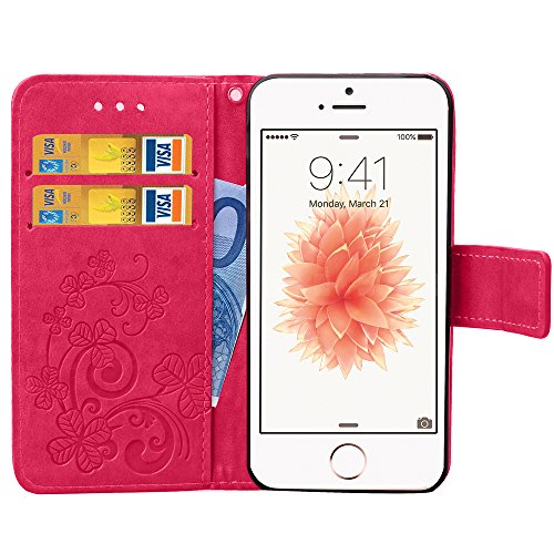 iPhone 5C Hülle Leder,iPhone 5C Hülle Silikon,iPhone 5C Hülle Flip Case,iPhone 5C Cover,EMAXELERS iPhone 5C Leder Handy Tasche Wallet Case Flip Cover Etui,PU Leder Flip Wallet Hülle für iPhone 5C,iPho Clover 1