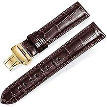 7193c593caff jiexima Cuero de cocodrilo Conjunto de bambú Correas de Reloj de Repuesto  con Hebilla desplegable de