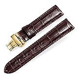 Alligator Leder Bambus Joint Ersatz Uhrenarmbänder mit Einsatz Gold Buckle (20mm, Braun)