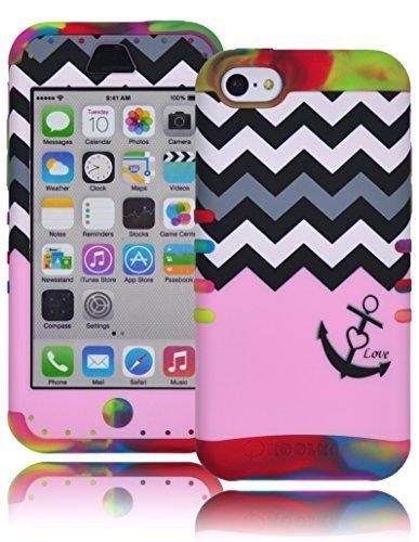 Bastex Heavy Duty Hybrid Case für Apple iPhone 5C, 5. Generation–Pretty Bright Tie Dye Silikon Gel Cover mit Pink Bottom Split von schwarz und weiß Chevron Love Anker Design Shell