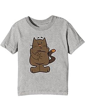 Gato Niños Unisexo Niño Niña Camiseta Cuello Redondo Gris Manga Corta Todos Los Tamaños Kids Unisex Boys Girls...