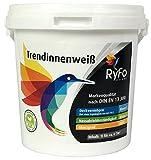 RyFo Colors Trendinnenweiß 1l (Größe wählbar) - hochwertige zertifizierte Wandfarbe, weiß, Deckkraft Klasse 2, scheuerbeständig, Innen-Dispersion, geruchsarm, lösemittelfrei