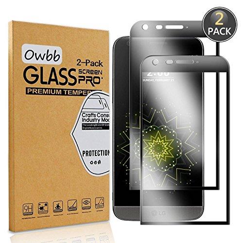 [2 pezzi] owbb® 3d full coverage nero vetro temperato pellicola protettiva protezione per lg g5 / lg g5 se protettiva 9h durezza 99% alta trasparente