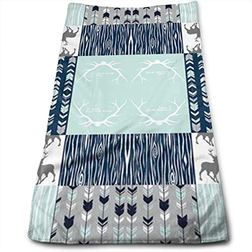 Osmykqe Patchwork Deer in White, Mint,Navy, Grey Microfiber Personalized 3D Design Pattern Towel, Can Be Used for Hair Towel, Beauty Towel, Sports Towel, Car Towel, Furniture Towel,12x27.5'in