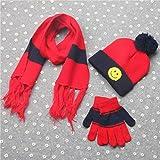 Prevently nuovo di alta qualità Bright color 3set inverno ragazzi ragazze sorriso modello collo Keep Warm sciarpe cappello guanti regalo per bambini, Red