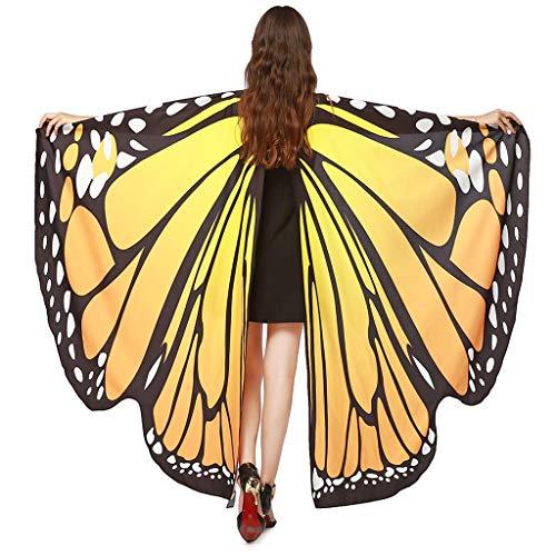 INLLADDY Frauen Umschlag Weiche Gewebe Schmetterlings Flügel Schal feenhafte Damen Nymphe Pixie Weihnachten Karneval Cosplay Faschings Kostüm Mit Maske Orange 168x135CM