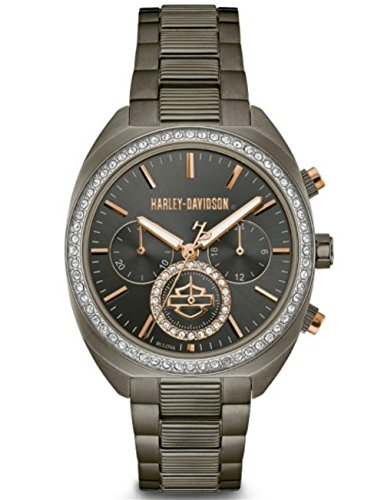Harley-Davidson Women's Gunmetal Finish Crystal Bezel Chronograph Watch - 78M103