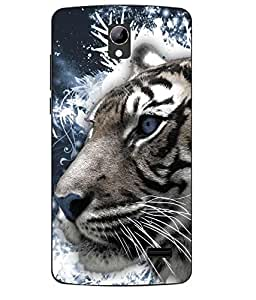 Case Cover Tiger Printed Blue Soft Back Cover For LYF WATER 10