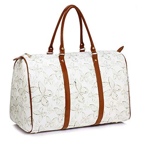 Anna Grace Vintage Reisetasche Blumenmuster Wasserdicht Weekender Tasche Duffle Bag Groß Wochenend Tasche Herren Damen (Schmetterling - Weiß)