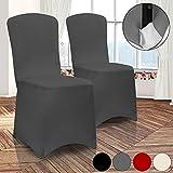 2 Stück Stuhlhussen Universell Husse Stretch Stuhlbezug Stuhlüberzug Stuhlüberwurf Hochzeiten, Partys oder Events ✓ dehnbar ✓ Farbe Anthrazit