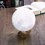 Lámpara de Luna de Impresión 3D Recargable, Lámpara de Noche LED, Luz de la Noche para Bebé Niño, Control Táctil, 7 Colores Diferentes, Decoración para Casa, Habitación, Regalo para Cumpleaños, Año Nuevo y Aniversario 15cm