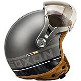 SOXON SP-325-PLUS Titanium · Casque Jet Scooter Biker Cruiser Demi-Jet Mofa Pilot Helmet Bobber Chopper Moto Vintage Vespa Retro · ✔ ECE certifiés ✔ y compris le sac de casque ✔ Gris · L (59-60cm)