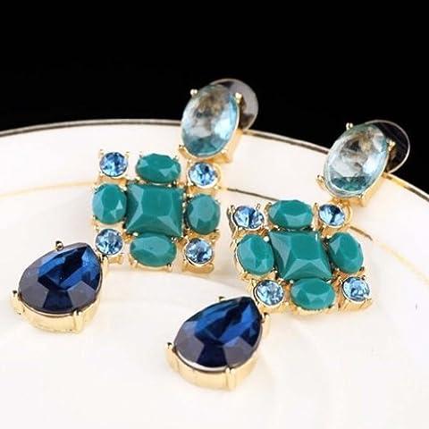 Yazilind Elegante Forma Oval gotas de agua Flor Multi chapado en oro Todo-Fósforo cuelga los pendientes de cristal azul