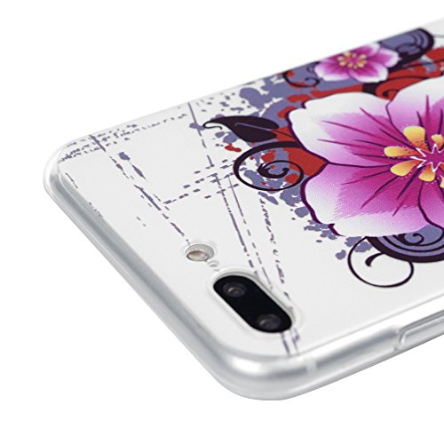 iPhone 7 Plus Hülle Tasche Kasos iPhone 7 Plus (5,5 Zoll ) Case Ultradünne Bunt Malerei Gemalt TPU Silikon Transparent Frame Schutzhülle Handyhülle Softcover Etui Bumper Schale mit Tribal Streifen Mus Blumen